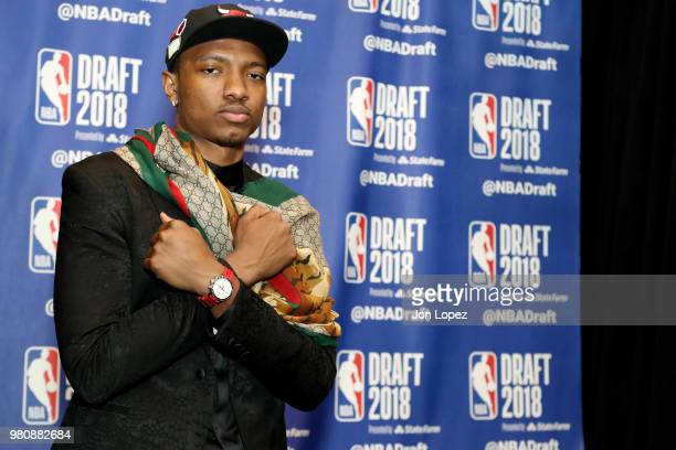 Wendell Carter Jr poses for a photo after being selected seventh overall by the Chicago Bulls at the 2018 NBA Draft on June 21 2018 at the Barclays...