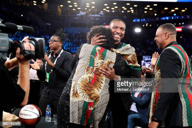 Wendell Carter Jr reacts after being selected number seven by the Chicago Bulls on June 21 2018 at Barclays Center during the 2018 NBA Draft in...