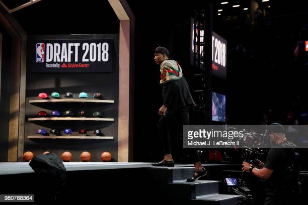 Wendell Carter Jr walks the stage after being selected number seven by the Chicago Bulls on June 21 2018 at Barclays Center during the 2018 NBA Draft...
