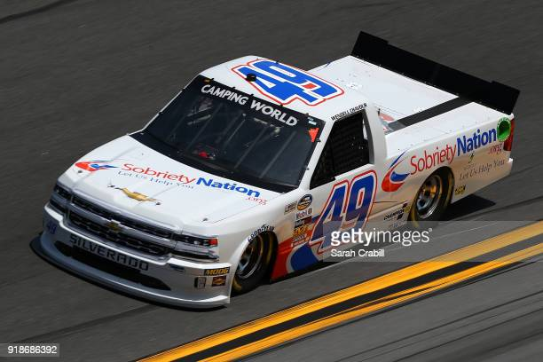 Wendell Chavous driver of the SobrietyNationorg Chevrolet practices for the NASCAR Camping World Truck Series NextEra Energy Resources 250 at Daytona...