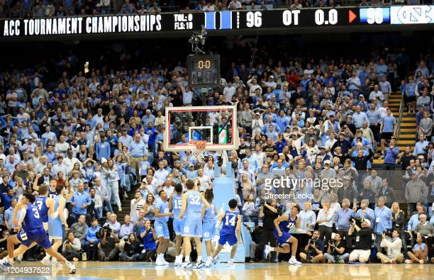 Wendell Moore Jr. #0 of the Duke Blue Devils makes the game winning shot to defeat the North Carolina Tar Heels 98-96 during their game at Dean Smith...