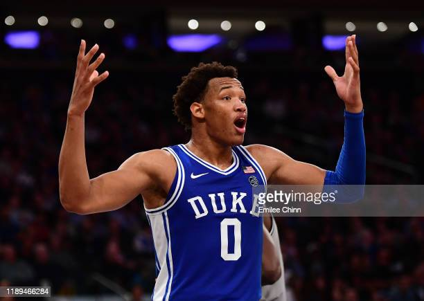 Wendell Moore Jr. #0 of the Duke Blue Devils reacts during the second half of their game against the Georgetown Hoyas at Madison Square Garden on...