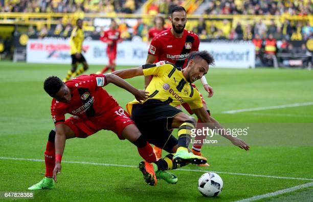 Wendell of Bayer Leverkusen challenges Pierre Emerick Aubameyang of Dortmund during the Bundesliga match between Borussia Dortmund and Bayer 04...
