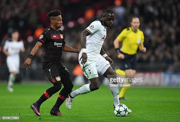 Wendell of Bayer Leverkusen closes down Moussa Sissoko of Tottenham Hotspur during the UEFA Champions League Group E match between Tottenham Hotspur...