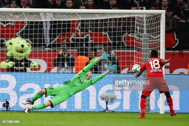 Wendell of Bayer Leverkusen scores a goal from the penalty spot to make it 20 during the Bundesliga match between Bayer 04 Leverkusen and 1 FSV Mainz...