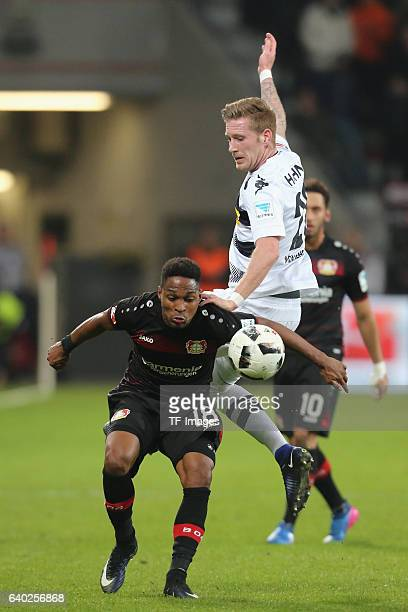 Wendell of Leverkusen and Andre Hahn of Moenchengladbach battle for the ball during the Bundesliga match between Bayer 04 Leverkusen and Borussia...