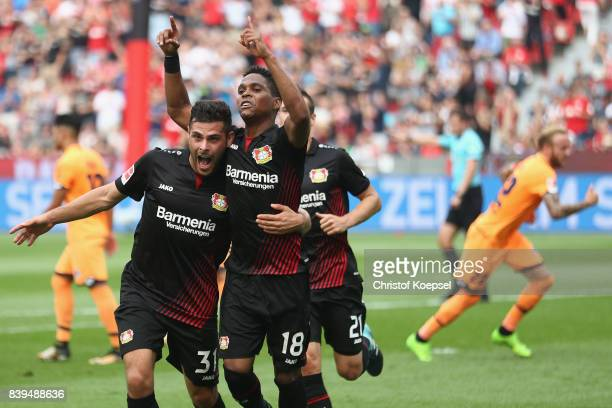 Wendell of Leverkusen celebrates the first goal with Kevin Volland of Leverkusen during the Bundesliga match between Bayer 04 Leverkusen and TSG 1899...