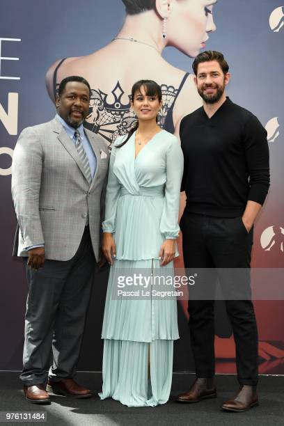 Wendell Pierce Dina Shihabi and John Krasinski from the serie Tom Clancy's Jack Ryan attend a photocall during the 58th Monte Carlo TV Festival on...