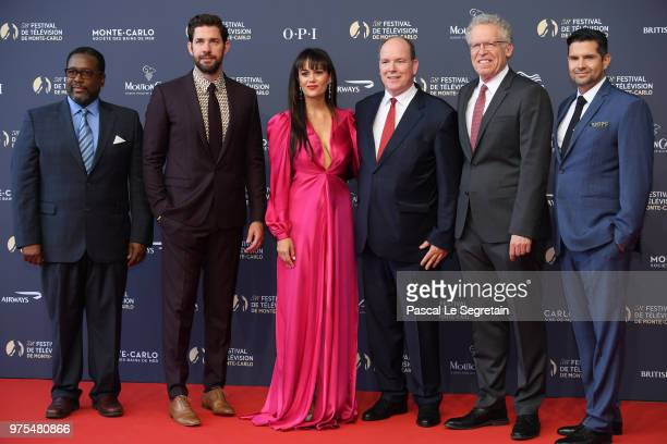 Wendell PierceJohn Krasinski Dina Shihabi Prince Albert II of Monaco Carlton Cuse and Graham Roland attend the opening ceremony of the 58th Monte...
