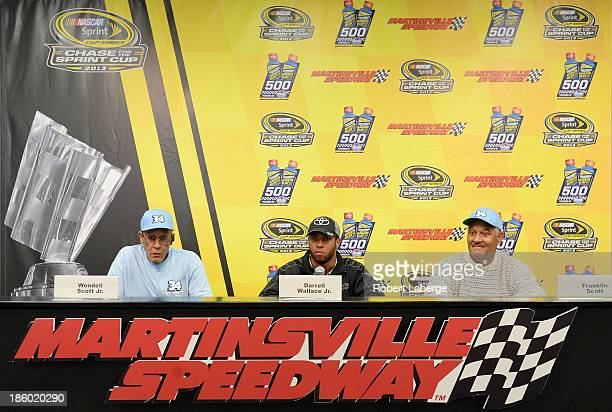 Wendell Scott Jr., son of Wendell Scott, Darrell Wallace Jr., driver of the ToyotaCare Toyota, and Franklin Scott, son of Wendell Scott, speak during...