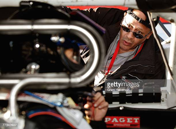 Wendell Scott, Jr. Talks with driver Tiffany Daniels during the NASCAR Drive for Diversity combine at South Boston Speedway October 15, 2007 in South...