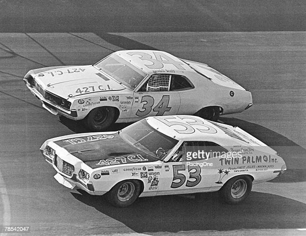 Wendell Scott practicing at Talladega, Alabama on May 6 the day before the Winston 500. Bill Ward is in No. 53.