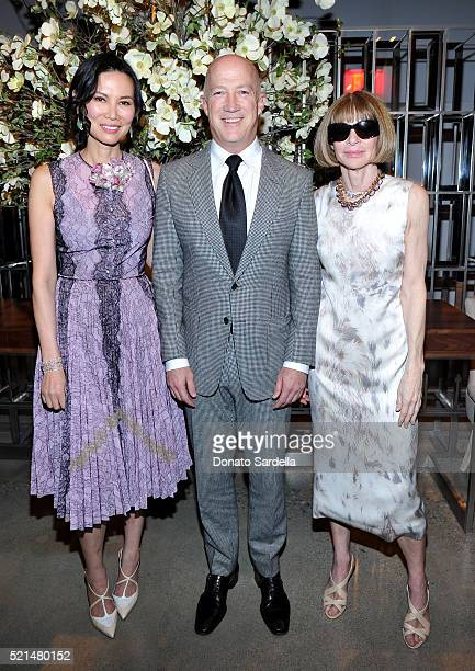 Wendi Murdoch Bryan Lourd and Editorinchief of American Vogue Anna Wintour attend The First Monday in May Los Angeles screening hosted by Bryan Lourd...