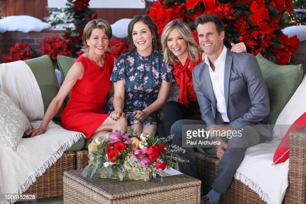 "Wendie Malick, Erin Krakow, Debbie Matenopoulos and Cameron Mathison on the set of Hallmark's ""Home & Family"" at Universal Studios Hollywood on..."