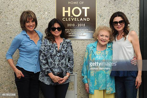 """Wendie Malick, Valerie Bertinelli, Betty White and Jane Leeves attend the TV Land dedicates a plaque to """"Hot In Cleveland"""" on stage 19 at CBS Studio..."""
