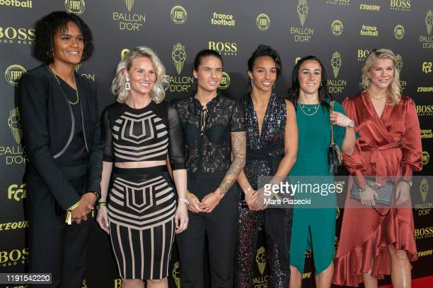 Wendie Renard Amandine Henry Dzsenifer Marozsan Sarah Bouhaddi Lucy Bronze and Ada Hegerberg attend the photocall during the Ballon D'Or Ceremony at...