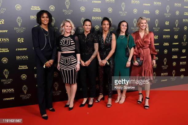 Wendie Renard Amandine Henry Dzsenifer Marozsan Sarah Bouhaddi Lucy Bronze and Ada Hegerberg pose on the red carpet during the Ballon D'Or Ceremony...
