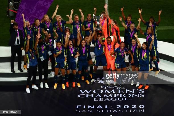 Wendie Renard, captain of Olympique Lyon lifts the UEFA Women's Champions League Trophy following her team's victory in the UEFA Women's Champions...