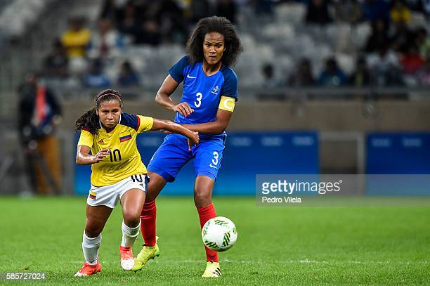 Wendie Renard of France and Leicy Santos of Colombia battle for the ball during a match between France and Colombia as part of Women's Football...