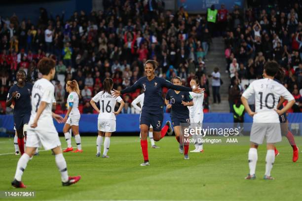 Wendie Renard of France celebrates after scoring a goal to make it 3-0 during the 2019 FIFA Women's World Cup France group A match between France and...