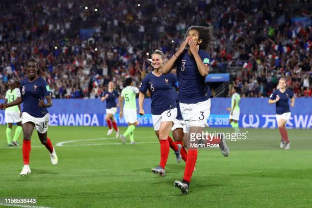 Wendie Renard of France celebrates after scoring her team's first goal during the 2019 FIFA Women's World Cup France group A match between Nigeria...