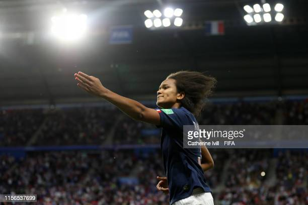 Wendie Renard of France celebrates after scoring her team's first goal from a penalty during the 2019 FIFA Women's World Cup France group A match...
