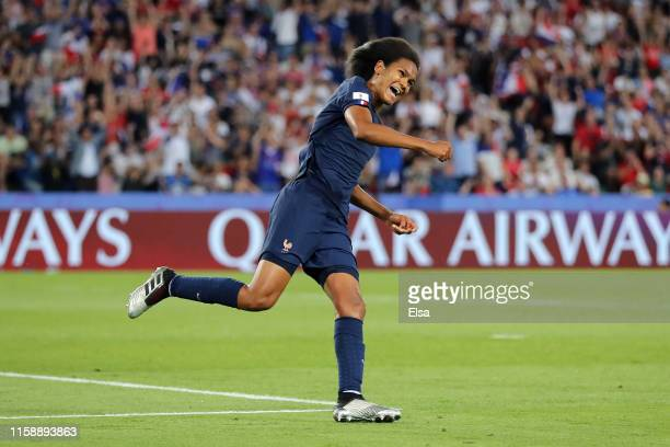 Wendie Renard of France celebrates after scoring her team's first goal during the 2019 FIFA Women's World Cup France Quarter Final match between...