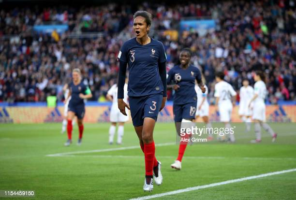 Wendie Renard of France celebrates after scoring her team's second goal during the 2019 FIFA Women's World Cup France group A match between France...