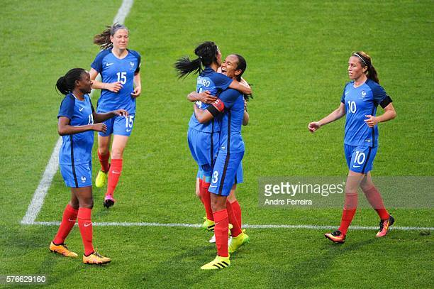 Wendie Renard of France celebrates her goal during Female International friendly match between France and China at Stade Charlety on July 16 2016 in...
