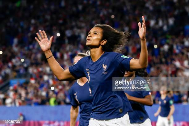 Wendie Renard of France celebrates her goal during the 2019 FIFA Women's World Cup France group A match between Nigeria and France at Roazhon Park on...
