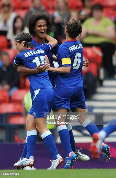 Wendie Renard of France celebrates her goal with team mates during the Women's Football Quarter Final match between Sweden and France on Day 7 of the...