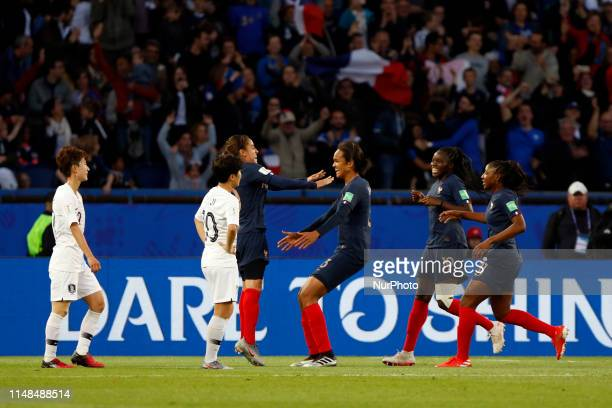 Wendie Renard of France celebrates the goal with her teammates during the FIFA Women's World Cup France 2019 Group A football match between France...