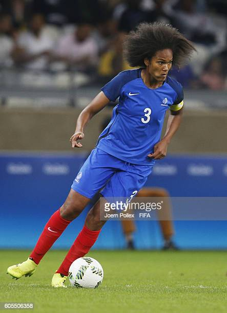 Wendie Renard of France controls the ball during Women's Group G match between France and Colombia on Day 2 of the Rio2016 Olympic Games at Mineirao...