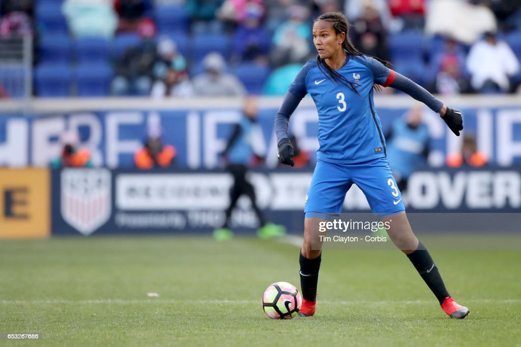 Wendie Renard #3 of France in action during the France Vs Germany SheBelieves Cup International match at Red Bull Arena on March 4, 2017 in Harrison, New Jersey.