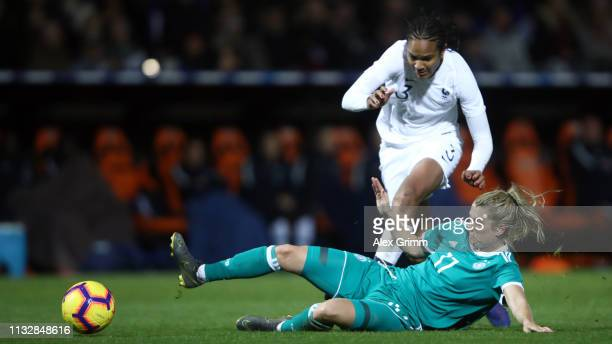 Wendie Renard of France is challenged by Verena Schweers of Germany during the Women's International Friendly match between France Women and Germany...