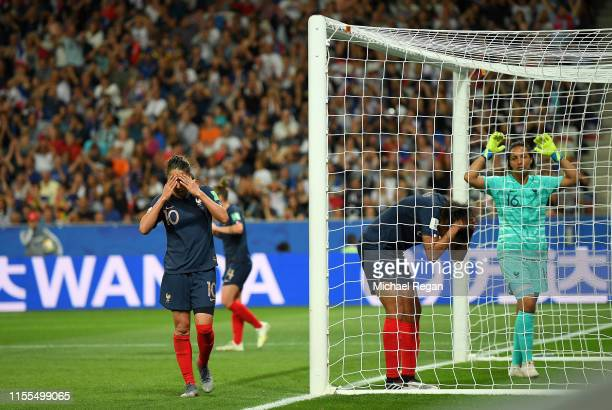 Wendie Renard of France reacts after scoring an own goal, Norway's first goal during the 2019 FIFA Women's World Cup France group A match between...
