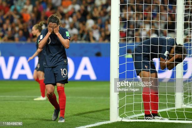 Wendie Renard of France reacts after scoring an own goal Norway's first goal during the 2019 FIFA Women's World Cup France group A match between...