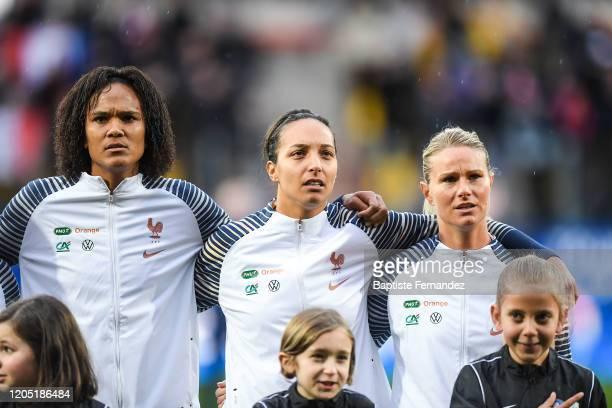 Wendie RENARD of France Sarah BOUHADDI of France and Amandine HENRY of France during the Tournoi de France International Women's soccer match between...
