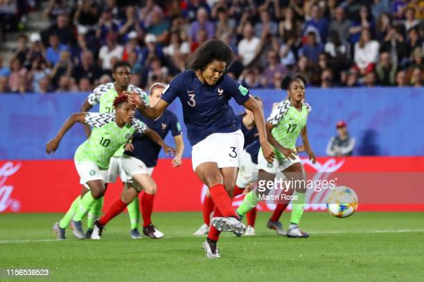 Wendie Renard of France scores a penalty for her team's first goal during the 2019 FIFA Women's World Cup France group A match between Nigeria and...