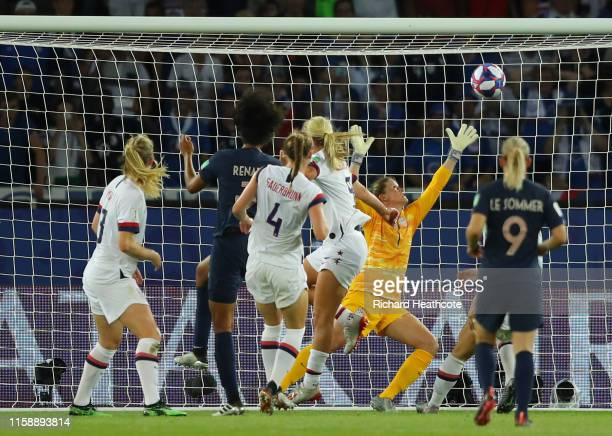 Wendie Renard of France scores her team's first goal during the 2019 FIFA Women's World Cup France Quarter Final match between France and USA at Parc...