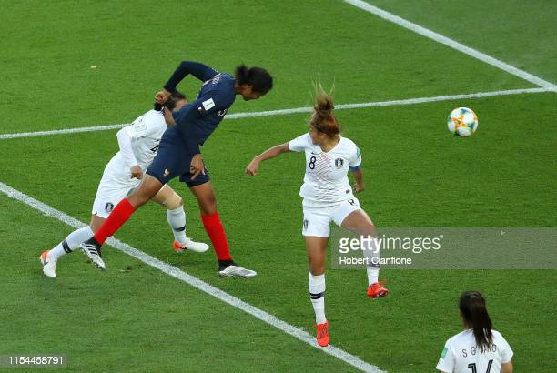 Wendie Renard of France scores her team's second goal during the 2019 FIFA Women's World Cup France group A match between France and Korea Republic...