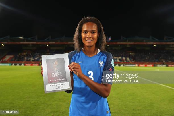 Wendie Renard of France with her Player of the Match award during the UEFA Women's Euro 2017 Group C match between France and Iceland at Koning...