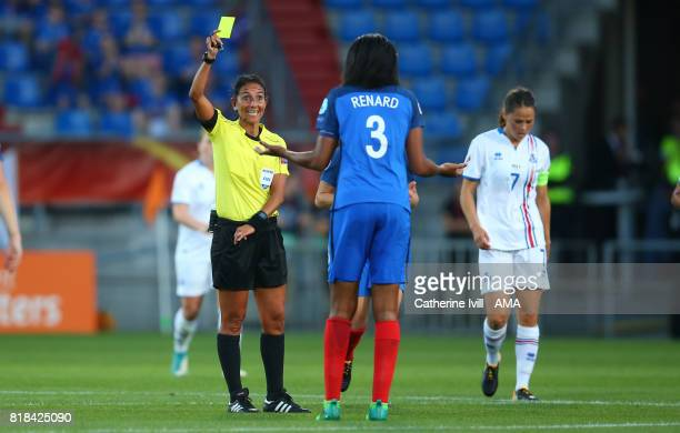 Wendie Renard of France Women receives a yellow card from Referee Carina Vitulano during the UEFA Women's Euro 2017 match between France and Iceland...