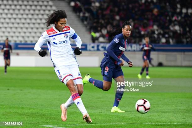 Wendie Renard of Lyon and Marie Antoine Katoto of PSG during the Women's Division 1 match between Paris Saint Germain and Olympique Lyonnais on...