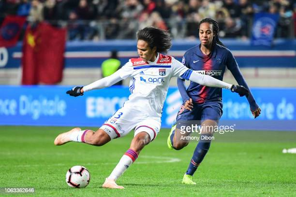 Wendie Renard of Lyon and Marie Antoinette Katoto of PSG during the Women's Division 1 match between Paris Saint Germain and Olympique Lyonnais on...