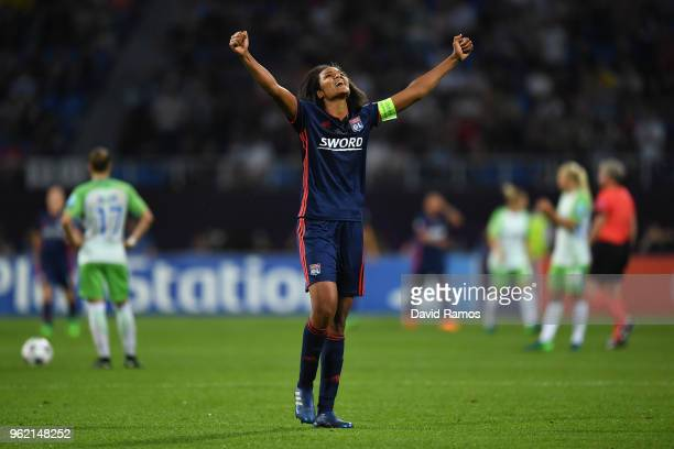 Wendie Renard of Lyon celerates after her sides second goal during the UEFA Womens Champions League Final between VfL Wolfsburg and Olympique...