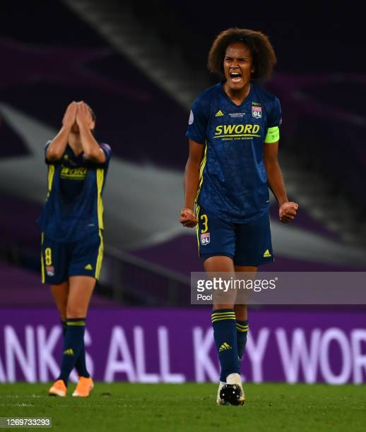 Wendie Renard of Olympique Lyon celebrates following her team's victory in the UEFA Women's Champions League Final between VfL Wolfsburg Women's and...