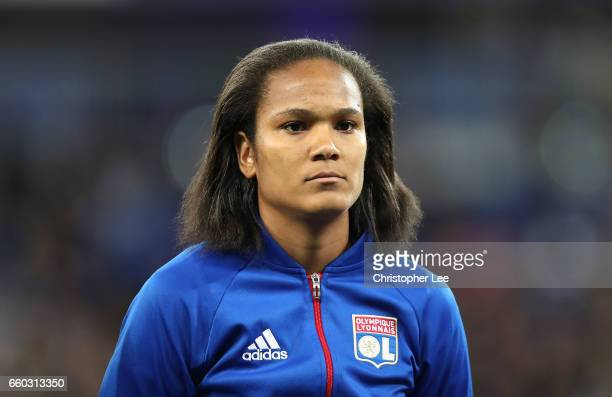 Wendie Renard of Olympique Lyon during the Women's Champions League match between Lyon and Wolfsburg at Stade de Lyon on March 29 2017 in Lyon France