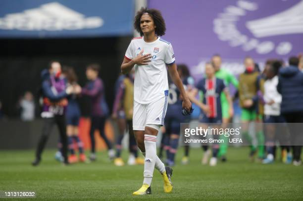 Wendie Renard of Olympique Lyon looks dejected following her team's defeat in the Second Leg of the UEFA Women's Champions League Quarter Final match...