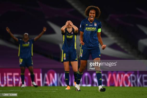 Wendie Renard of Olympique Lyonnais celebrates after her teams victory in the UEFA Women's Champions League Final between VfL Wolfsburg Women's and...